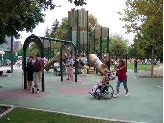 Rubberized playground surfaces enhance mobility and accessibility